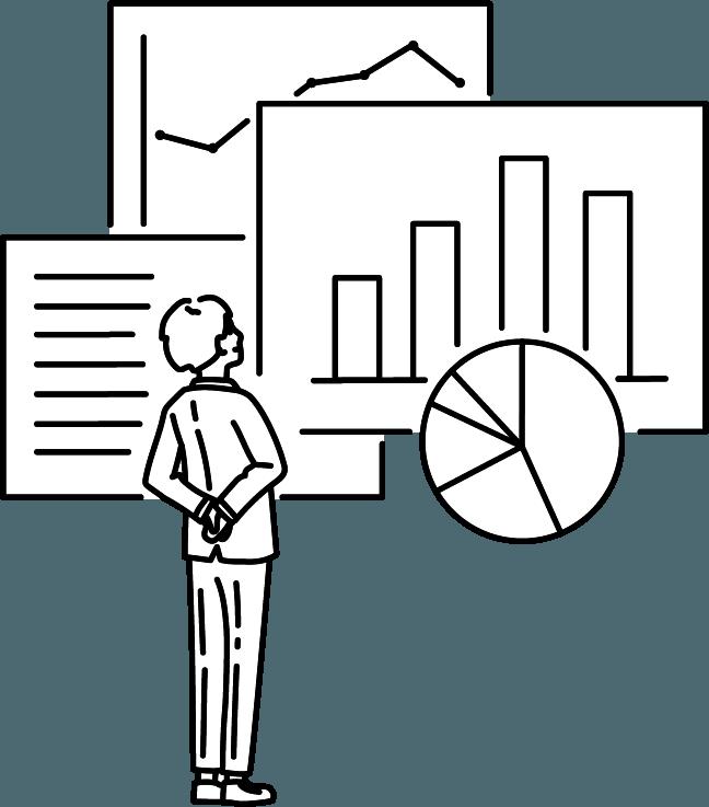 データを見る人(男)のイラスト