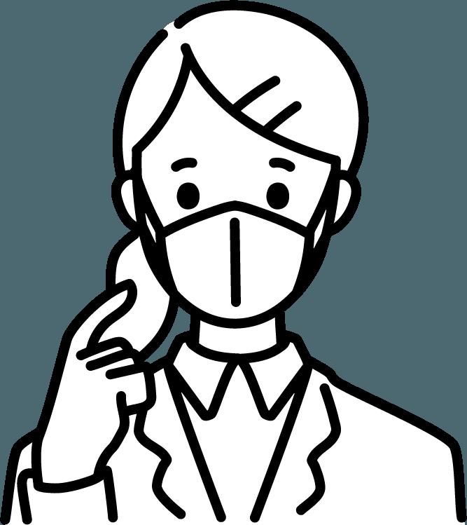 マスクをしたビジネスマン(女)のイラスト
