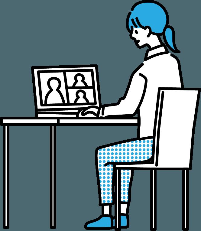 テレワーク(女)のイラスト