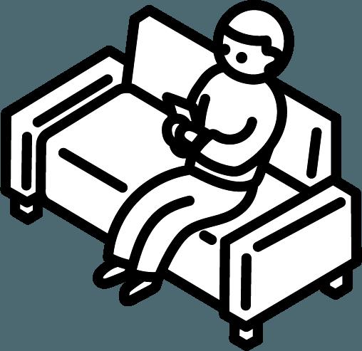 ソファーに座っている人のイラスト