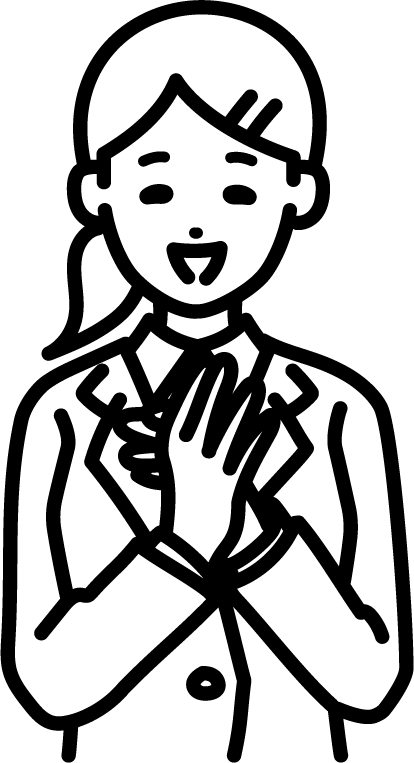 拍手しているビジネスマン(女)のイラスト