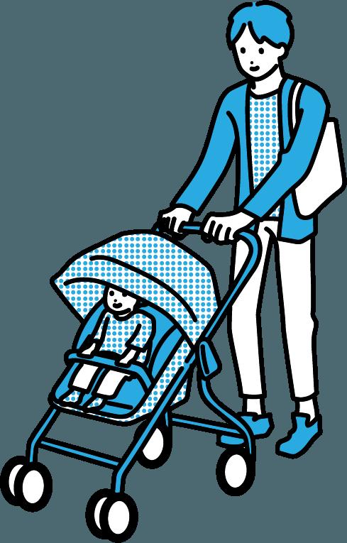 ベビーカーを押している人(男)のイラスト