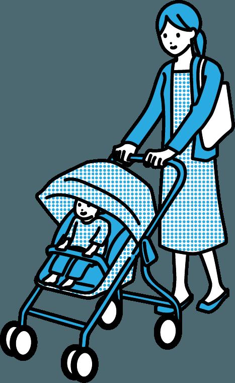 ベビーカーを押している人(女)のイラスト
