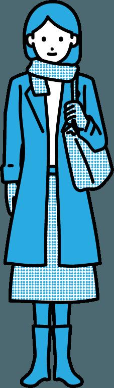 コートを着ている人(女)のイラスト