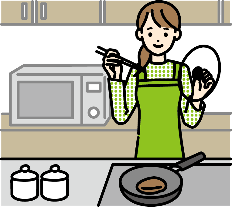 料理をしているイラスト