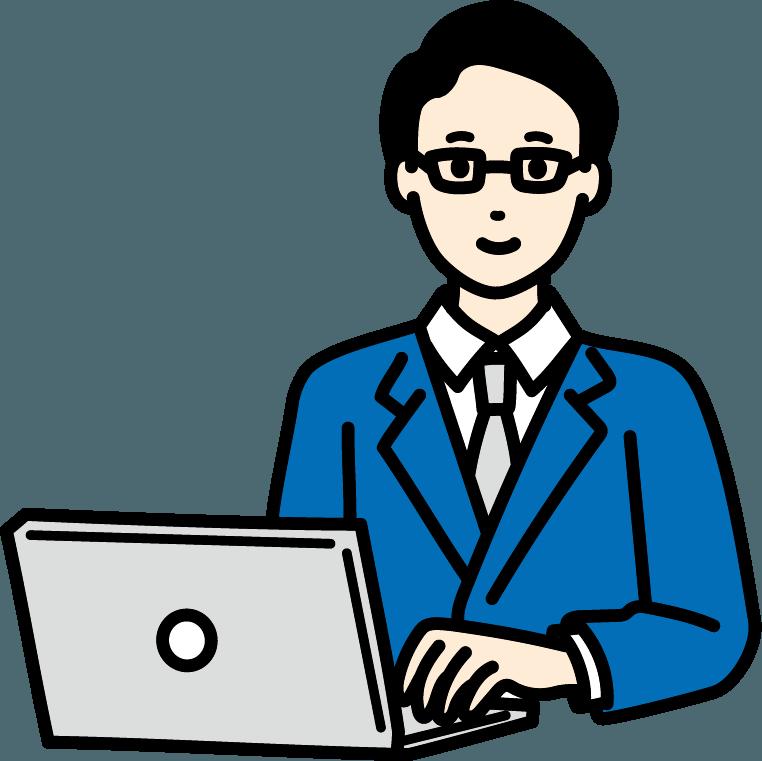 パソコンを操作しているビジネスマン(男)のイラスト