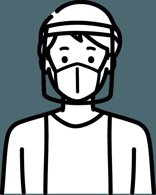 フェイスガードをしている人(男)のイラスト