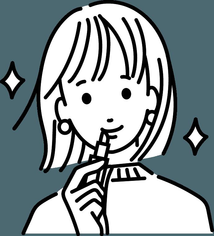 メイクしている人のイラスト
