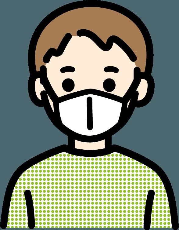 マスクをしている子供(男)のイラスト
