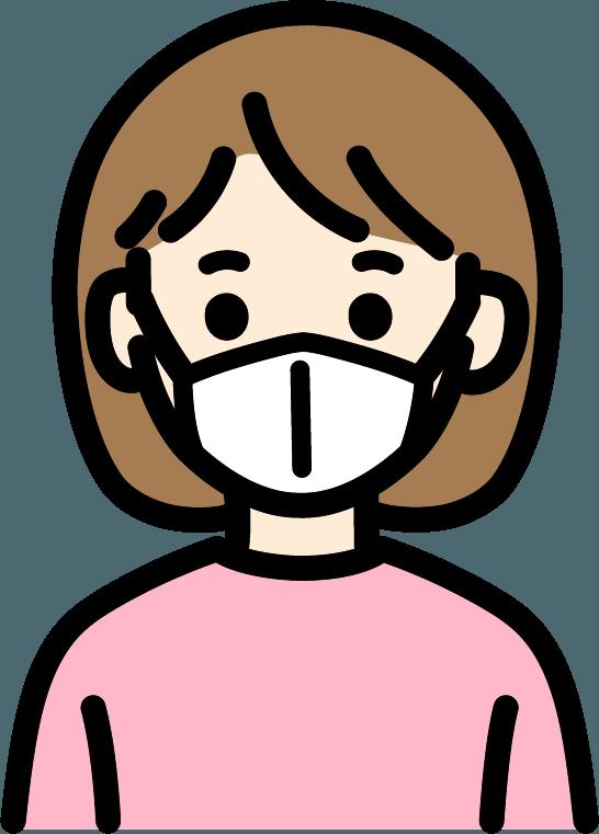 マスクをしている子供(女)のイラスト