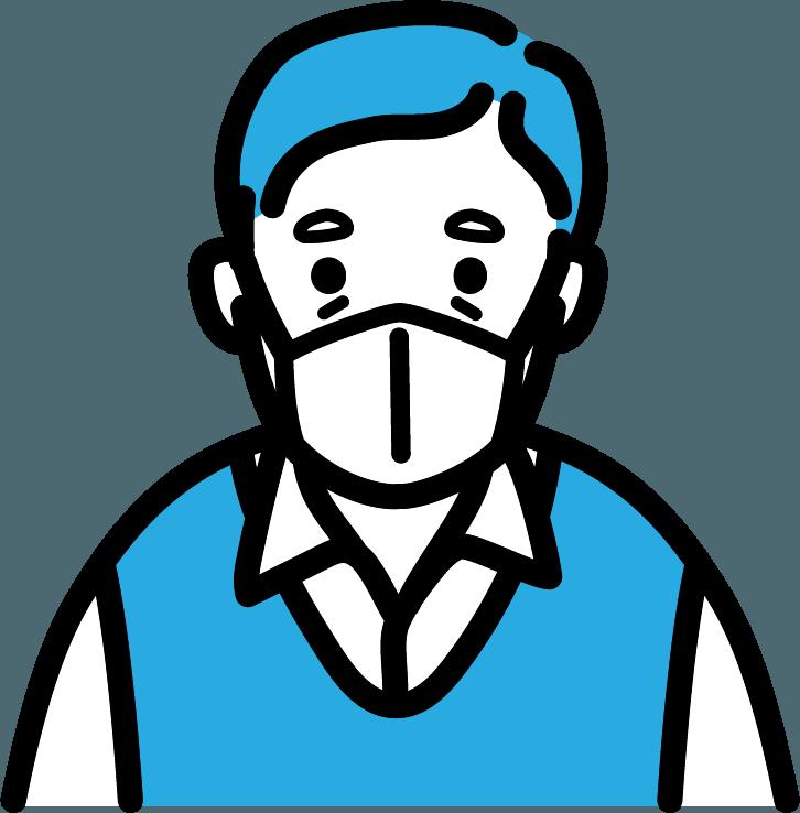 マスクをしているお年寄り(男)のイラスト