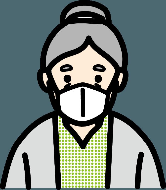 マスクをしているお年寄り(女)のイラスト