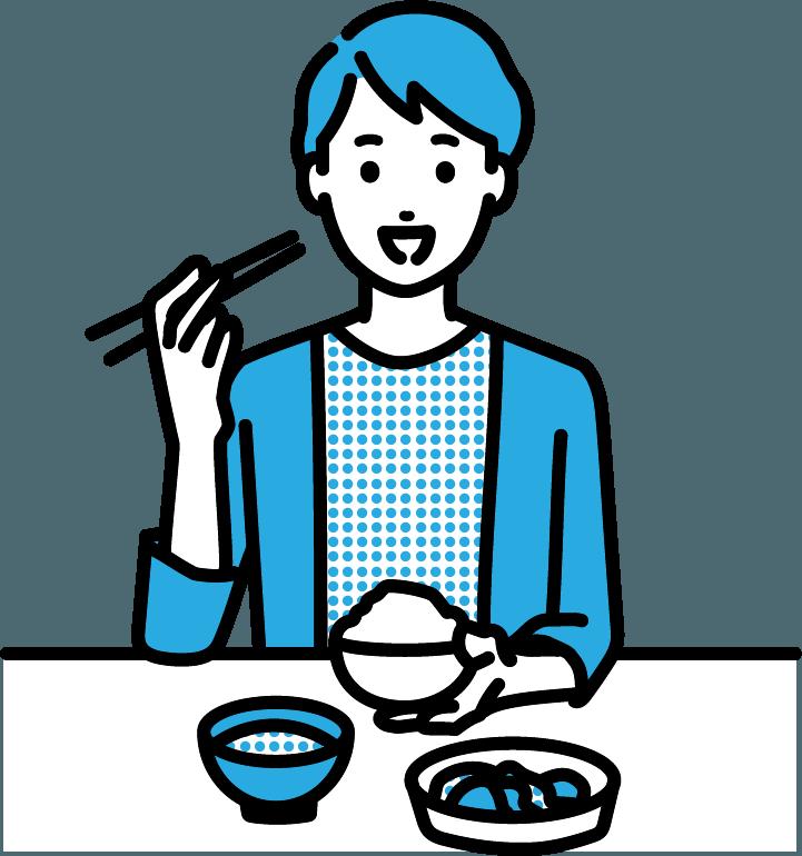 食事をしている人(男)のイラスト