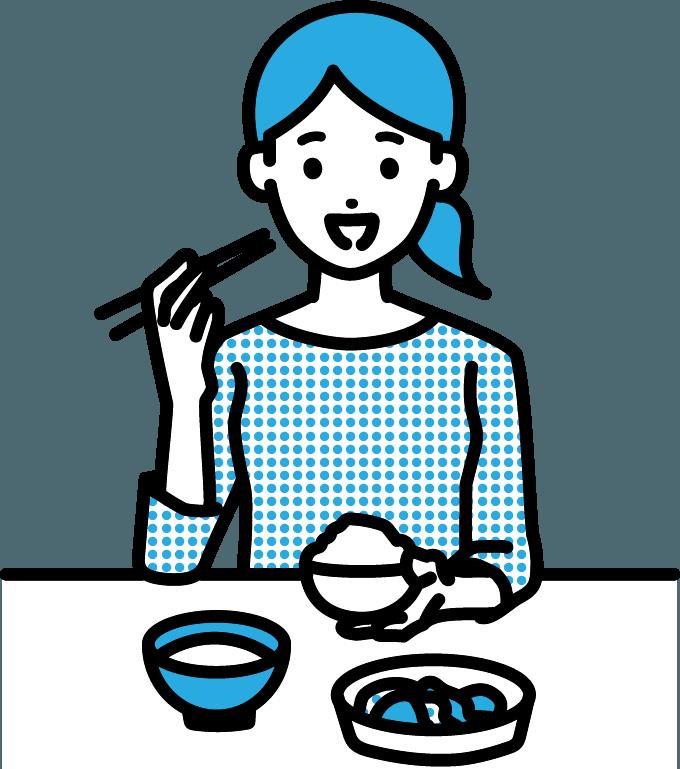 食事をしている人(女)のイラスト