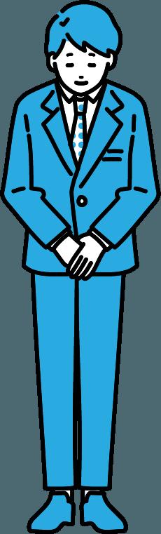 お辞儀しているビジネスマン(男)のイラスト-2