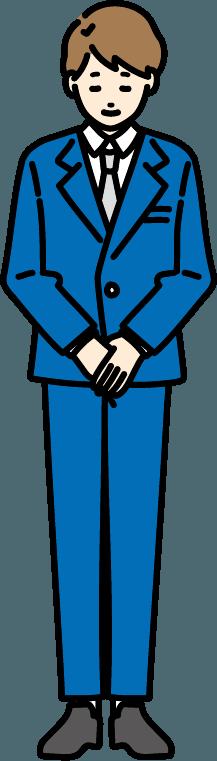 お辞儀しているビジネスマン(男)のイラスト-1