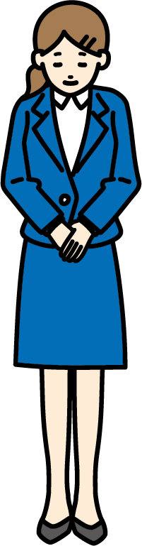 お辞儀しているビジネスマン(女)のイラスト-2