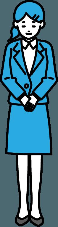 お辞儀しているビジネスマン(女)のイラスト-1