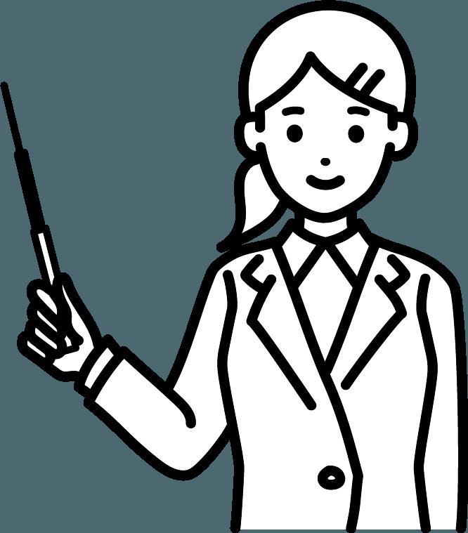 指し棒を持っている人(女)のイラスト