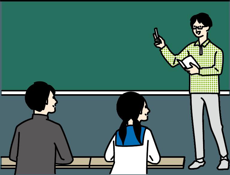学生が授業を受けているイラスト-2
