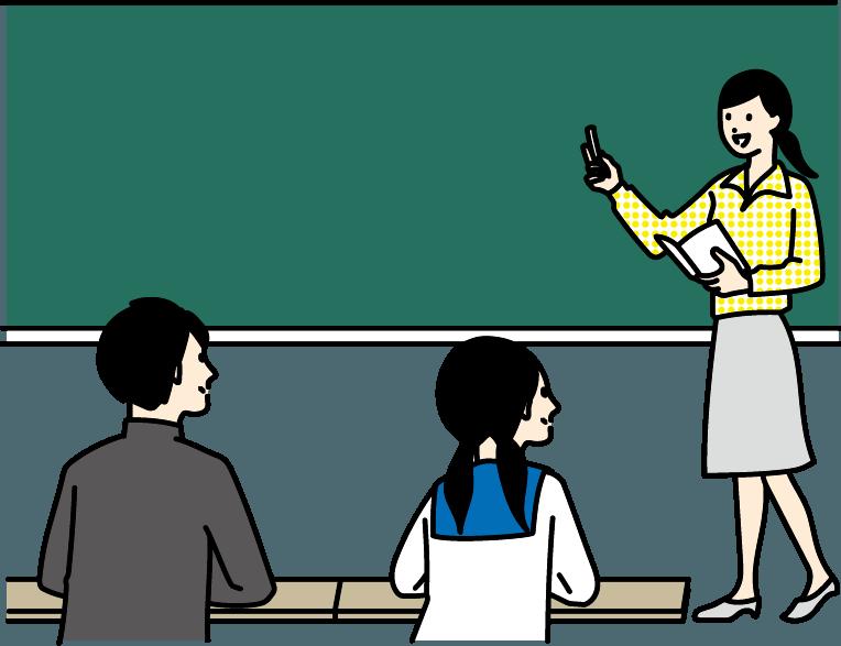 学生が授業を受けているイラスト