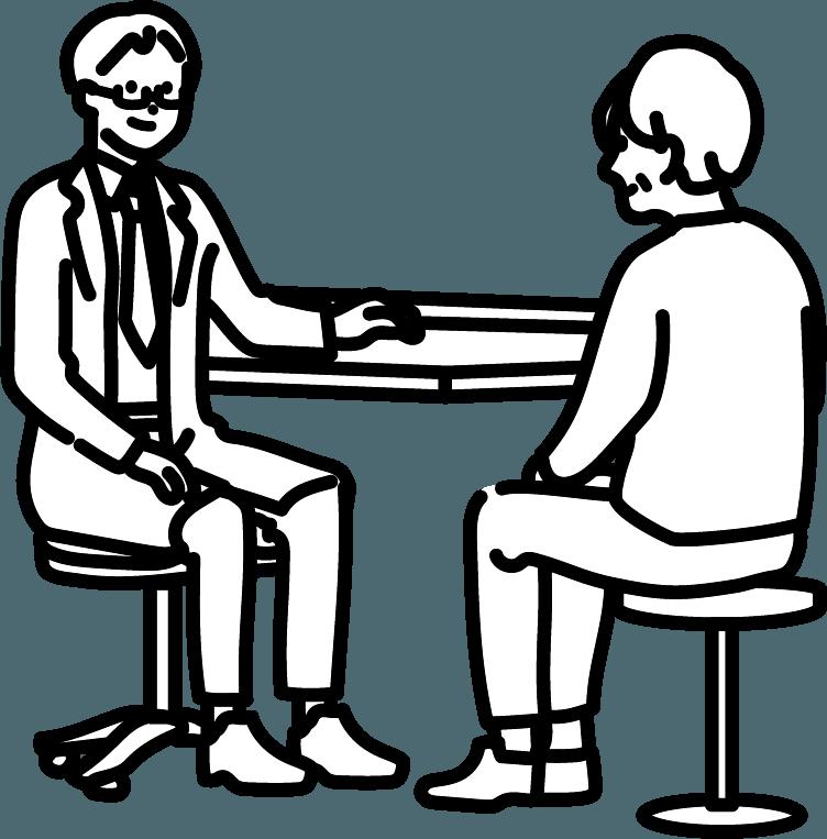 診察を受けている人(お年寄り)のイラスト