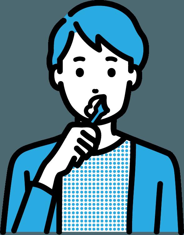 歯を磨いている人(男)のイラスト