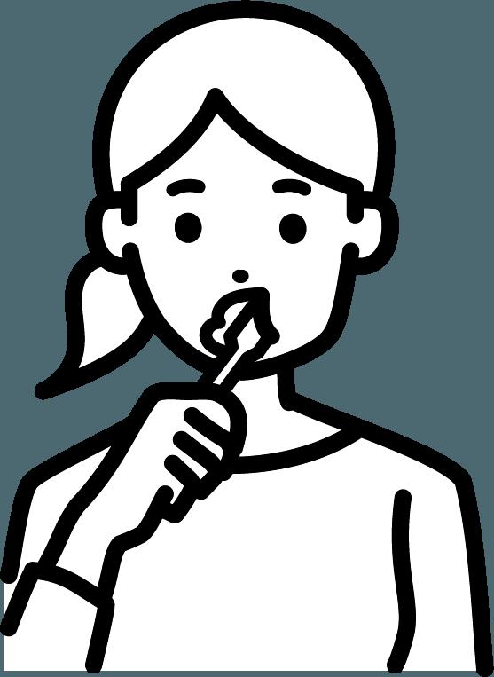 歯磨きをしている人(女)のイラスト