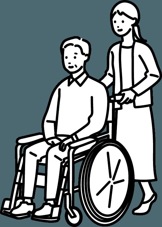 車いすに座っている男性のイラスト。