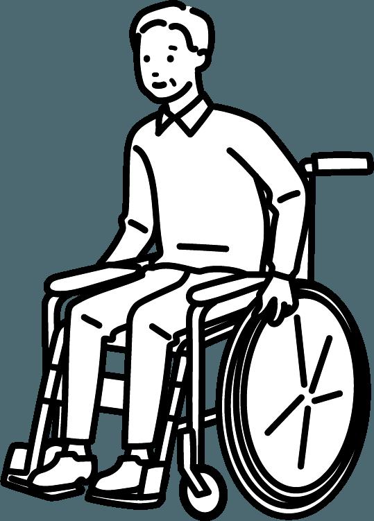 車いすに座っている人(男)のイラスト