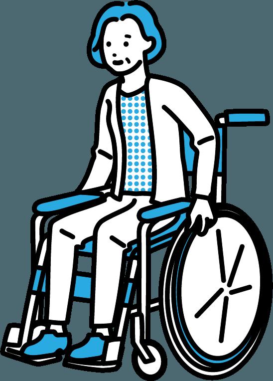 車いすに座っている人(女)のイラスト