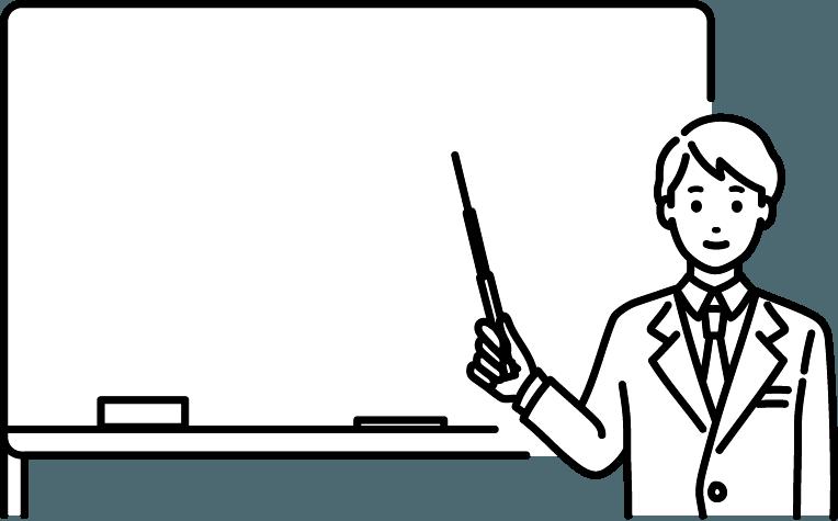 ホワイトボードを使用している人(男)のイラスト