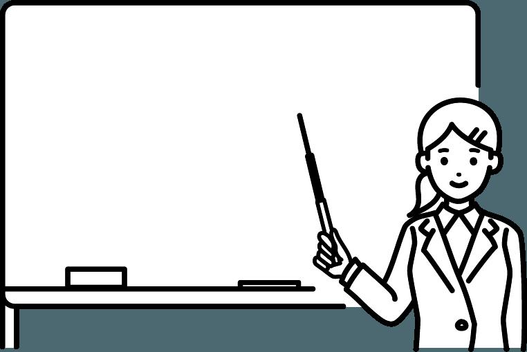 ホワイトボードを使用している人(女)のイラスト