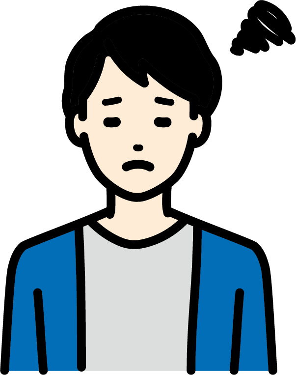 悩んでいる人(男)のイラスト