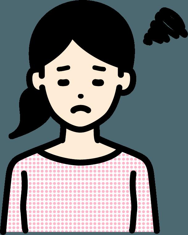 悩んでいる人(女)のイラスト