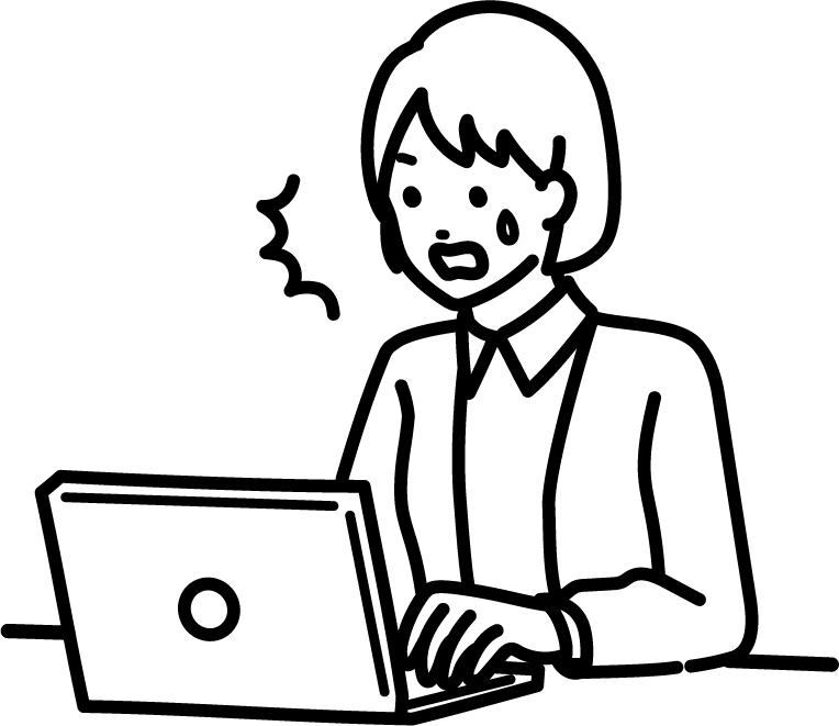 パソコンを見て驚いている人(女)のイラスト