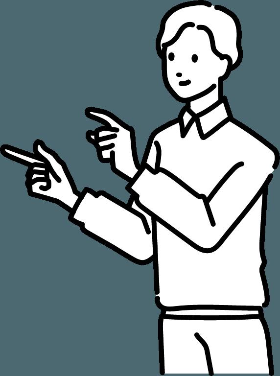 指さしている人(男)のイラスト