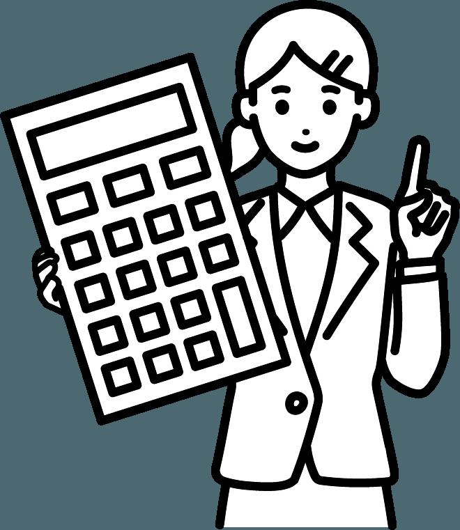 計算機とビジネスマン(女)のイラスト