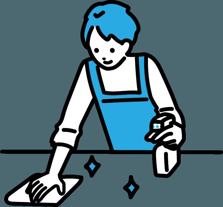 掃除している人(男)のイラスト