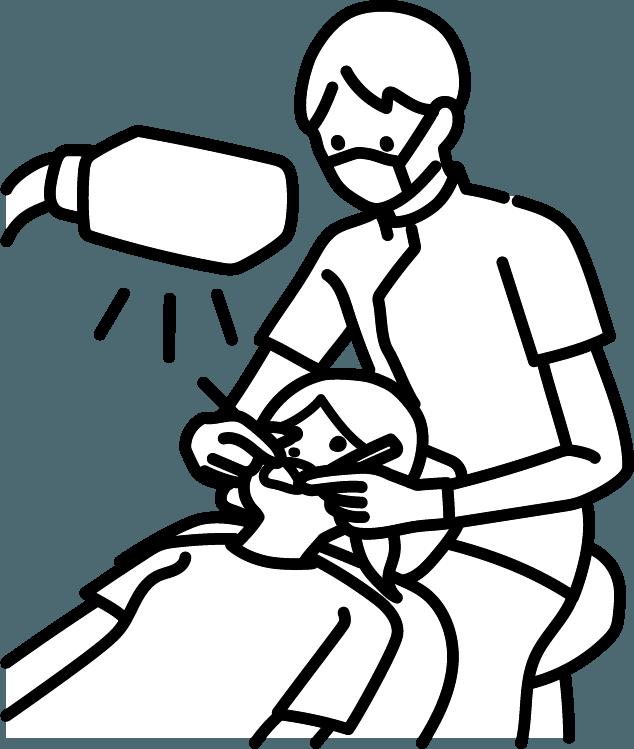 歯を治療をしている人(男)のイラスト
