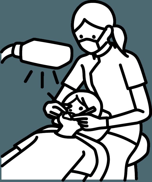 歯を治療している人(女)のイラスト