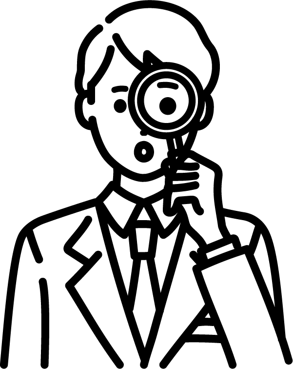 ルーペを持っているビジネスマン(男)のイラスト