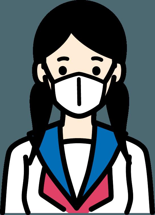マスクをしている学生(女)のイラスト