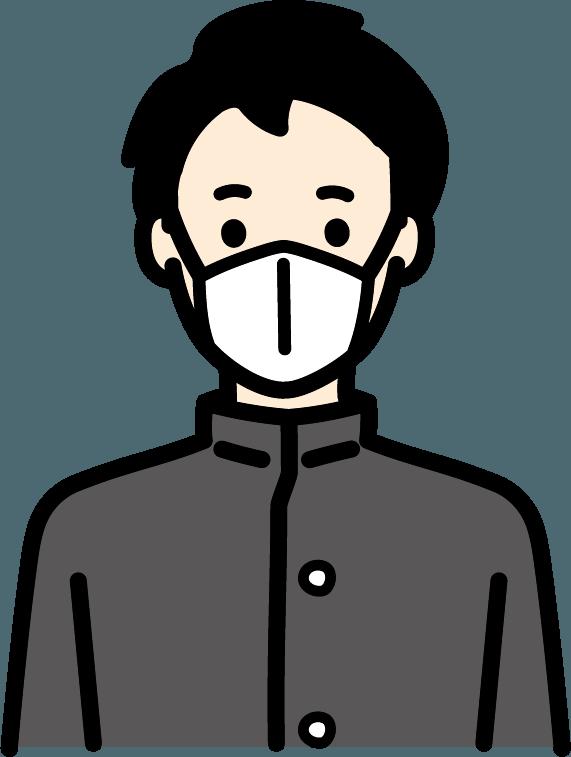 マスクしている学生(男)のイラスト