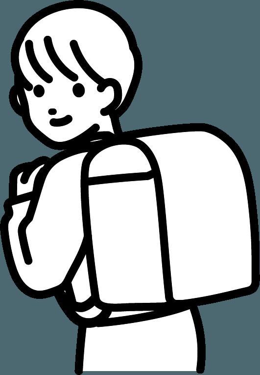 ランドセルを背負っている子供(男)のイラスト