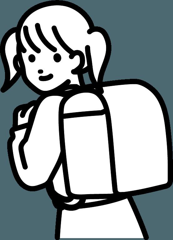 ランドセルを背負っている子供(女)のイラスト