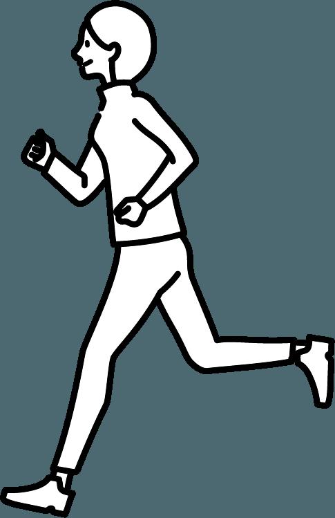 走っている人(女)のイラスト