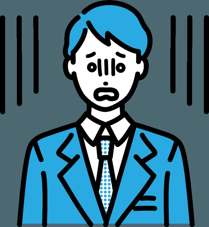 ショックを受けているビジネスマン(男)のイラスト
