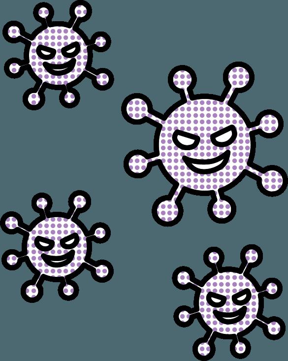 ウィルス、コロナウイルス、菌のイラスト
