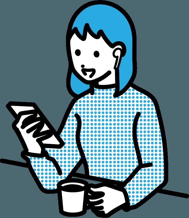 音声SNSを利用している人(女)のイラスト